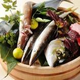 新鮮魚介をお造りで! 旬のお魚仕入れてお待ちしてます!