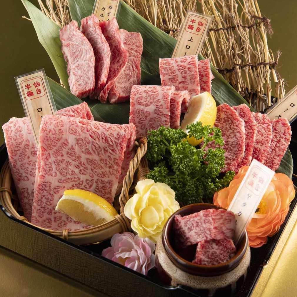 【プレミアム食べ放題のみ】A5仙台牛5種盛りや四大名物のお肉など全145品⇒5,148円※ワンドリンク制