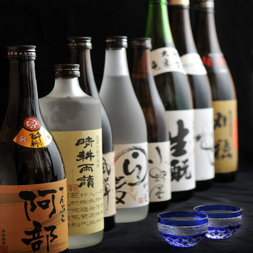 店主 阿部が選んだ焼酎、日本酒を天麩羅とご一緒にどうぞ