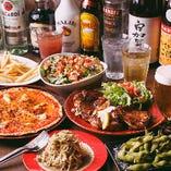 コスパ重視、でも食事もしっかり付いたコース。サラダやチキン、ピザなど全6品、飲み放題付きです!