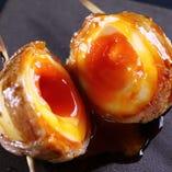 ブランド卵『蘭王』を使用した半熟卵の豚巻きトロ玉串♪