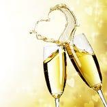 乾杯はシャンパンで!ノンアルもご用意できます。