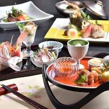 彩り華やかな料理がテーブルを飾る『お祝い会席 6,600円コース』