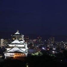 大阪城のライトアップを一望!