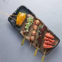 ピーマン肉詰めチーズ・ハツ葱まみれ・カラスミうずら玉子・ふりそで梅しそ・軟骨明太