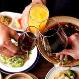 【プレミアム飲み放題】  飲み放題付コースに+2,000円でワイン&シェリー酒も飲み放題に!