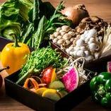 旬のお野菜を全国から。20種類以上の新鮮野菜も食べ放題。