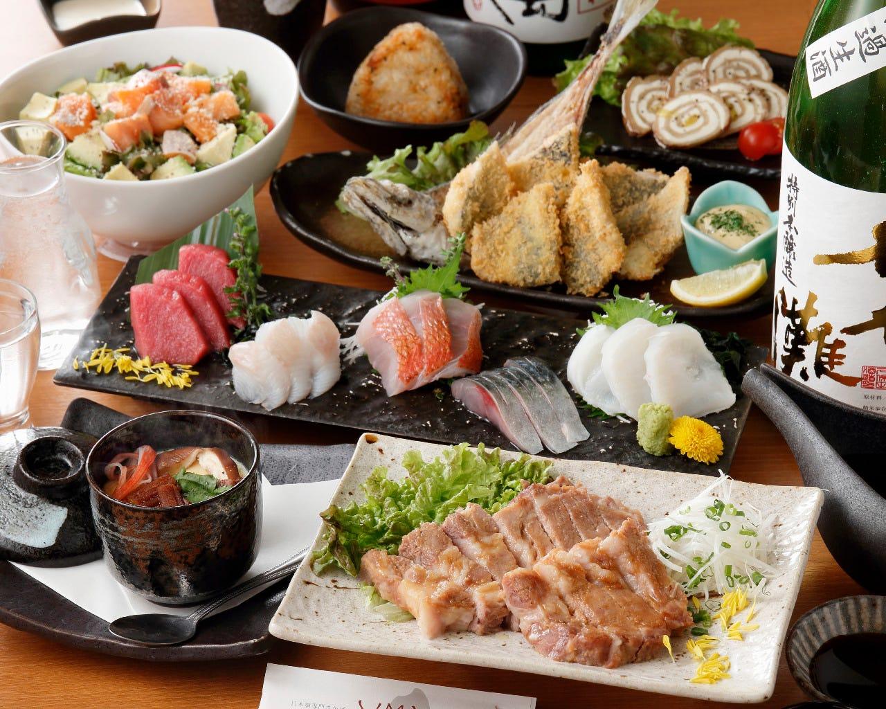 日替わり含む日本酒全30種2時間飲み放題込み!厳選料理7品コース5500円(税込)《宴会・歓送迎会・女子会》