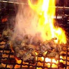 備長炭で焼き上げる焼物、炙り物