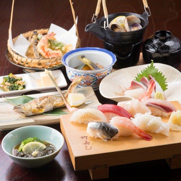 【旬を堪能】料理6品+銘銘盛りの握りつき!竹寿し定番コース⇒3,500円(税抜)