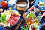人気の個別盛り「天水分豆腐とオリーブ牛のすき焼き膳」