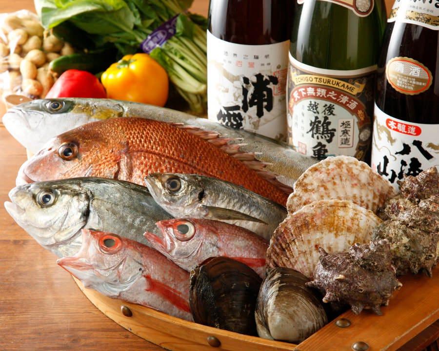 板前が直に目利きして仕入れる魚介類