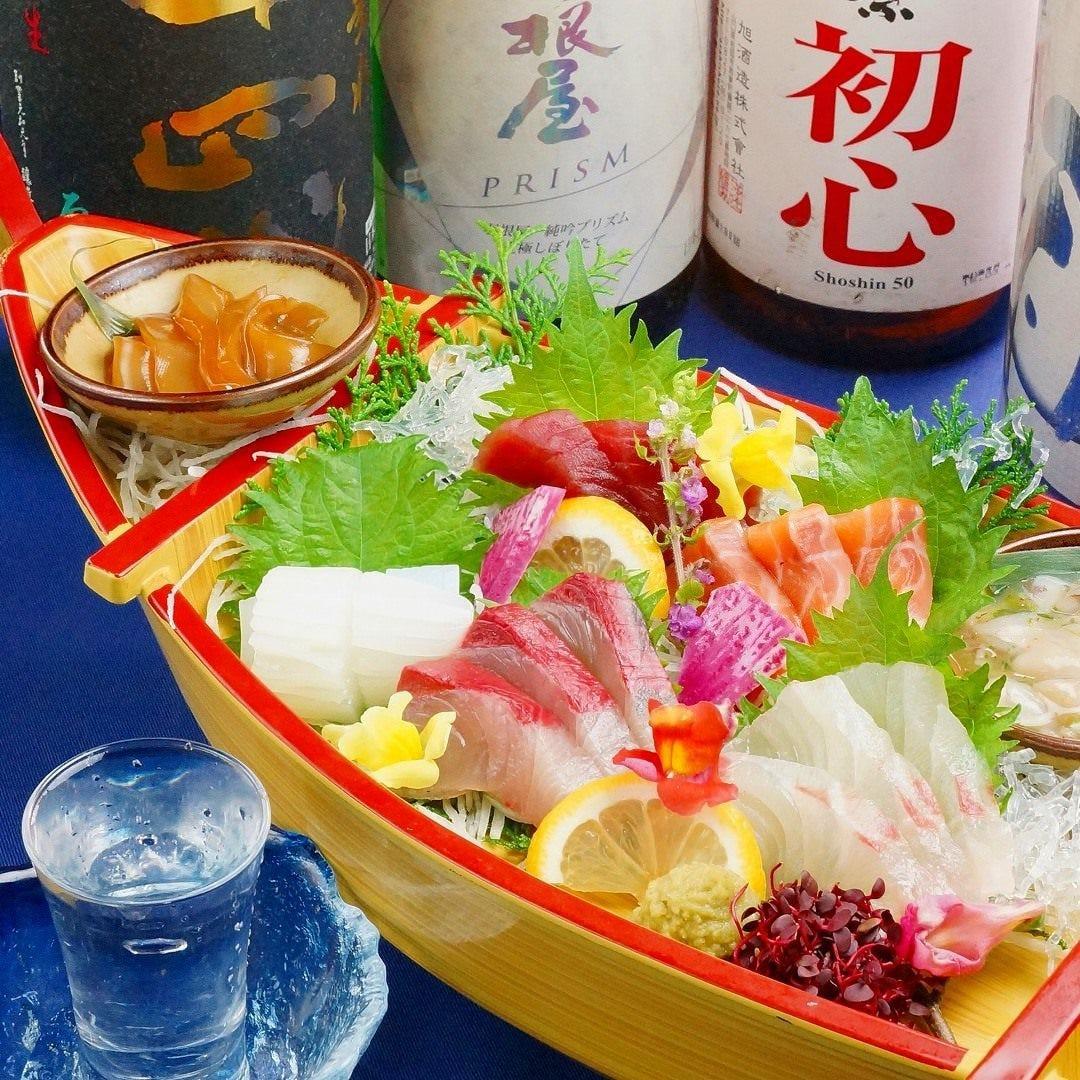 海鮮料理と握り寿司と日本酒