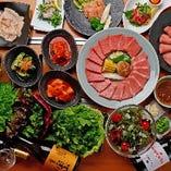 【接待に最適】厳選した上焼肉やレアステーキ付「アジヨシコース」