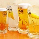 人気のメガサイズは、ビール、ハイボール、サワーをご用意。