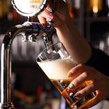 定番のキリンやギネスの他、数量限定のゲストビールもご用意
