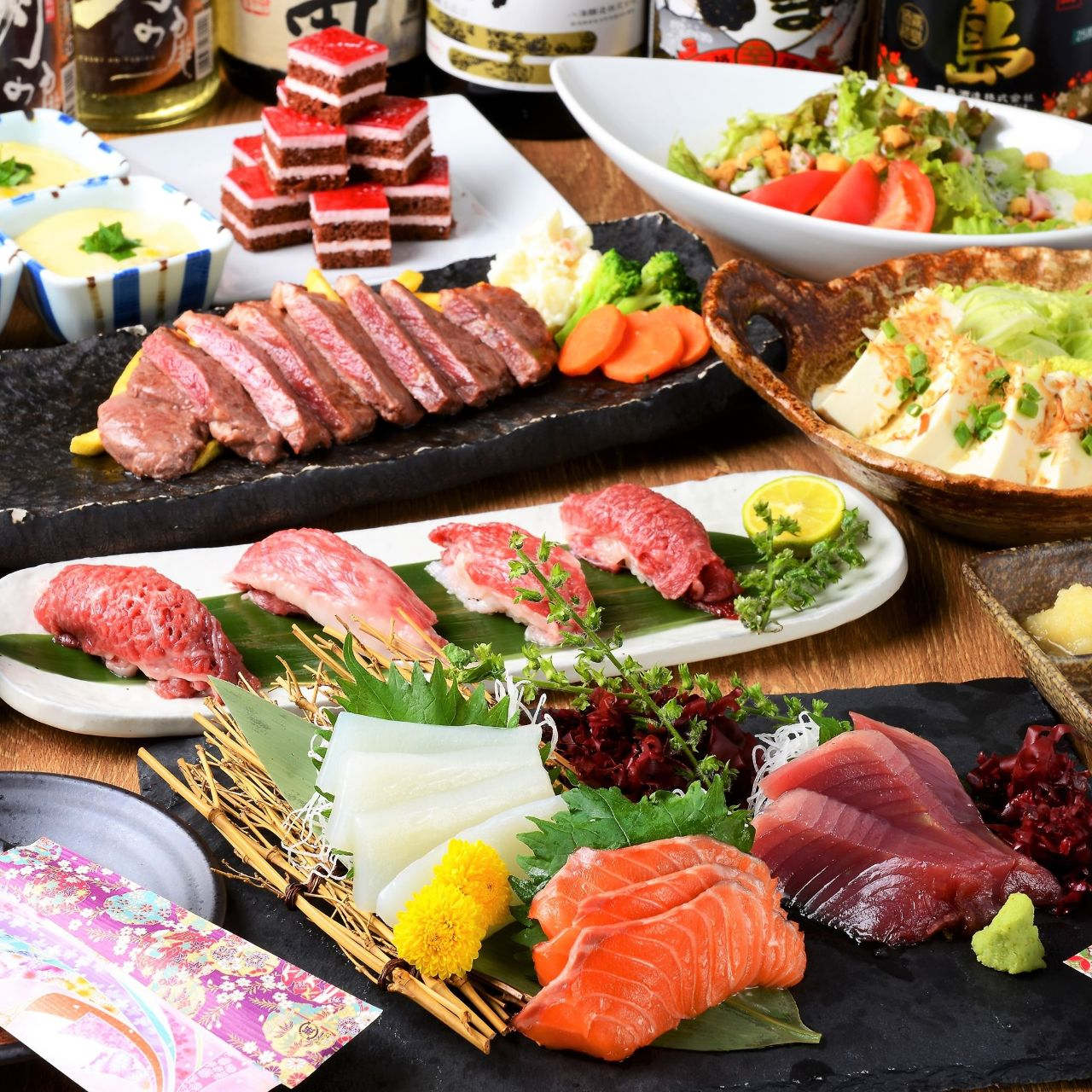 たっぷり3時間!!毎日直送お造り,和牛肉寿司,など全7品!!3500円⇒2500円【厳選肉舌鼓コース】