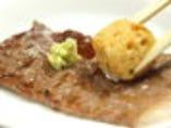 泡醤油とお肉独自の食べ方が評判↑ ワサビと一緒に和の食感^^