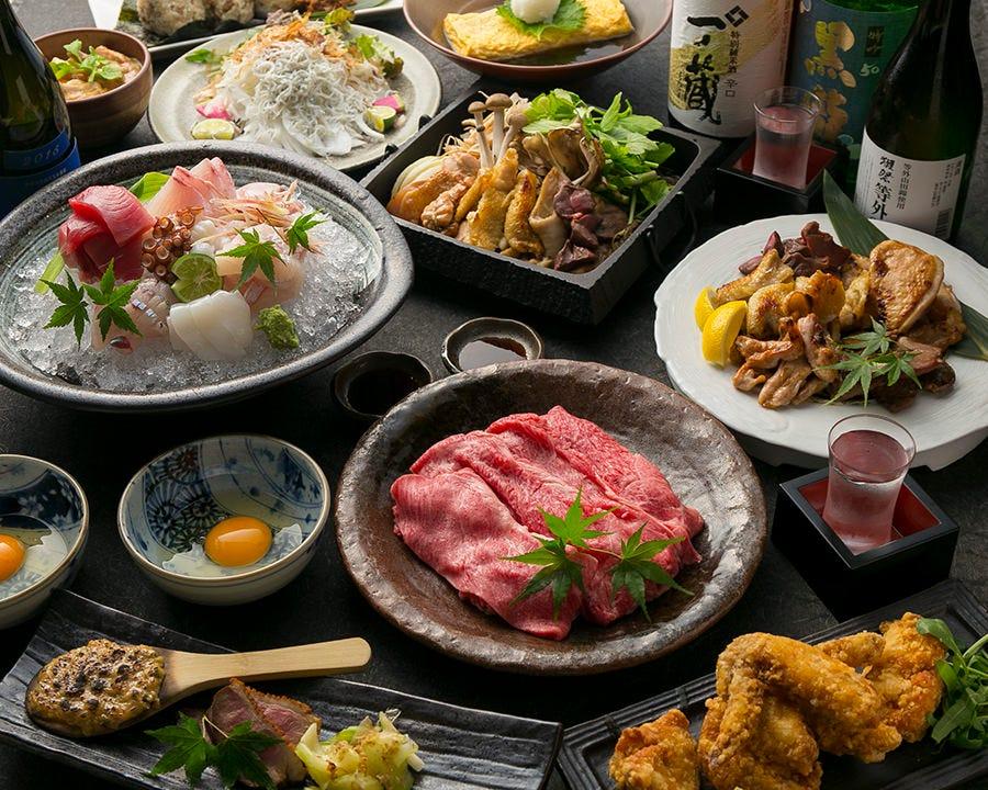 本マグロ・黒毛和牛・香住カニ・日本酒・飲み放題付!