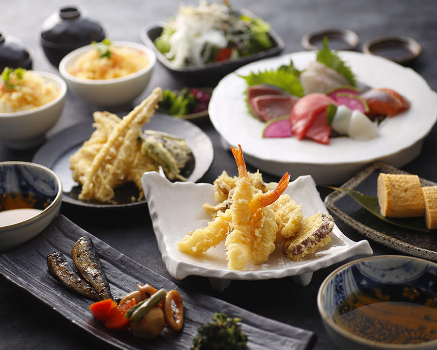 ●穴子・海老・旬野菜の天ぷら豪華刺身・日本酒15種飲み放題コース●
