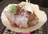 青森スルメイカの肝醤油炭火貝焼き