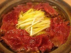 牛タンと黄ニラのしゃぶしゃぶ -カボス醤油(ポン酢)と-