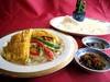 五目野菜と玉子のクレープ包み      自家製XO醤 & 甜麺醤添え