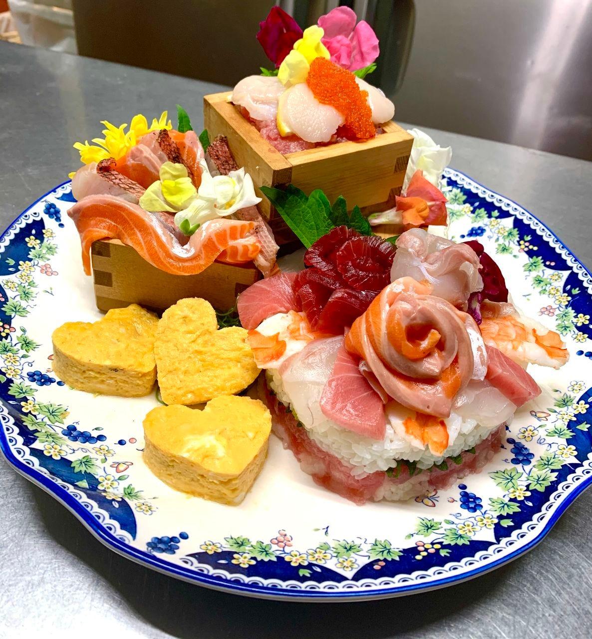 サプライズに!寿司ケーキ