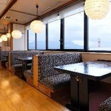 桜島が一望できる席でゆったり過ごす