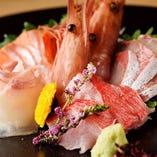 肉のみならず魚もこだわりアリ!鮮度抜群、季節の魚介をお刺身で