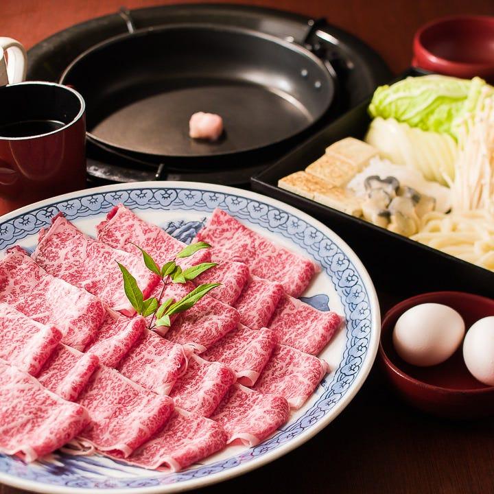 黒毛和牛プレミアム(オプション変更可)付き すき焼き食べ放題&飲み放題DX 鍋宴会