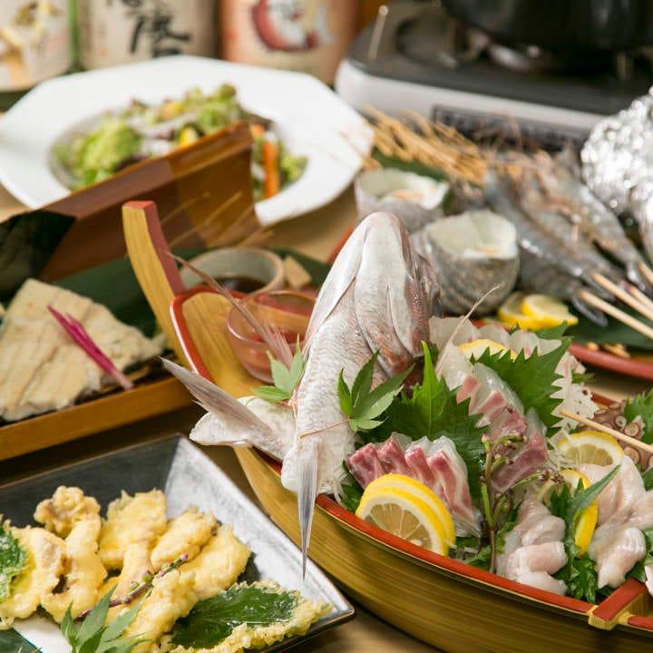 《お店一番人気》地元の幸を贅沢に堪能『鯛の姿造り入り名物コース』全7品120分飲み放題付5000円 現金特価