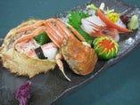 当館の特製出汁ぼたん鍋に蟹料理。忘年会や新年会にも!