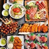 """""""魚好き""""さんも""""肉好き""""さんも大満足★ お造りや炭火焼き鳥、肉プレートが付く宴会コース!"""