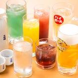 【全55品が飲み放題】 生ビール、焼酎、日本酒に、女性人気のカクテル&果実酒もOK