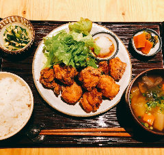 [大分名物]鶏のからあげ定食(明太マヨorおろしポン酢)