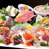 自慢のコースでは鮮魚は勿論、お肉もご用意!