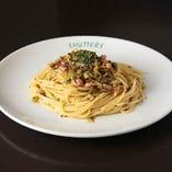 たかな漬けとベーコンのスパゲッティ