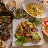 自慢の石窯で焼き上げたグリル料理&石窯ピザなどが楽しめる『パーティーコース』。デザートまでご堪能いただけます。