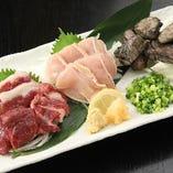 ◆丸ごと!もつ玄盛り合せ 馬刺し/地鶏のたたき等九州料理満載