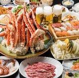 ズワイガニが食べ放題!生寿司にジンギスカン、その他20種類以上/100分