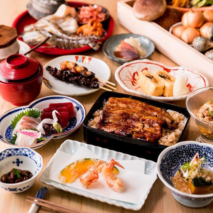 鰻・天ぷらを味わう飲み放題付コース