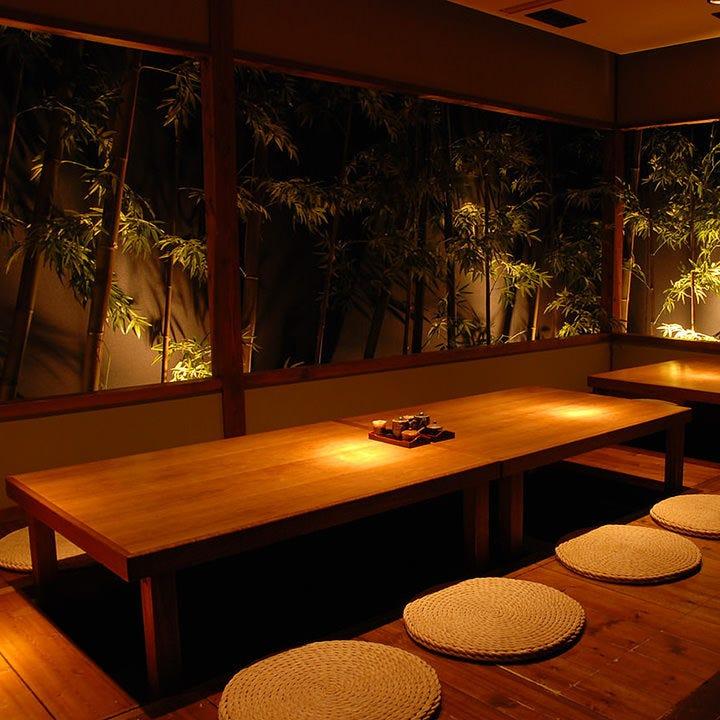 接待にも◎お庭がついた素敵な個室でごゆっくりお寛ぎください。