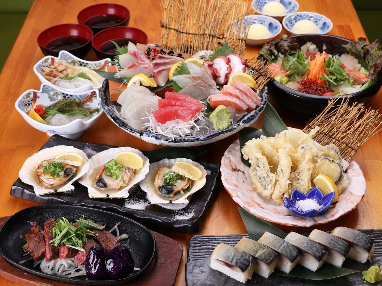 旬の鮮魚や手作りの逸品が入ったコースに仕上げております!