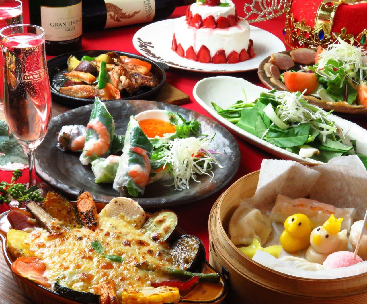 ☆記念日スイートコース☆ お料理6品+お祝いホールケーキ+5大特典付☆。(飲み放題は+1500円~)