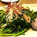 本日の青菜の炒め物(空芯菜、カイラン菜など)