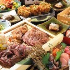 1人1皿提供【少人数〜徳川さんコース】お造り6種盛り,金目鯛の煮付け,ステーキ3種盛[全8品]6,000円(税抜)