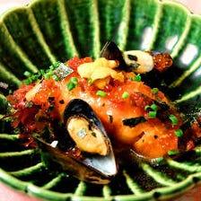 本日の鮮魚とイクラの梅パッチョ