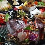 鮑・クエ・鮟鱇など高級食材を使った料理が並ぶ豪華コースが多数