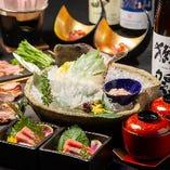 季節の鮮魚や人気のカワハギ活造りが入った宴会コース5000円~